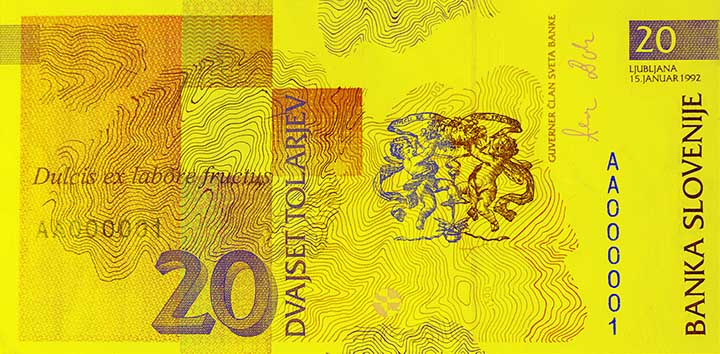 20 Slovenian tolar banknote backside