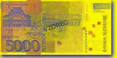 5,000 Slovenian tolar banknote backside