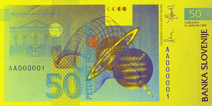 50 Slovenian tolar banknote backside