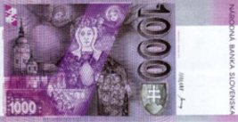 1000 Slovak koruna banknote backside