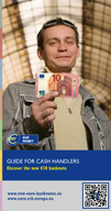 Leaflet for professional cash handlers on the security features of the first series of euro banknotes and the Europa series €5 and €10 banknotes.
