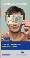 Leaflet for professional cash handlers on the security features of the first series of euro banknotes and the Europa series €5 banknote.