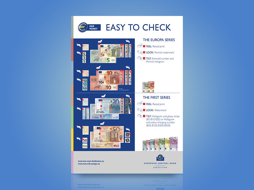 Poster on the security features of the first series of euro banknotes and the Europa series €5 and €10 banknotes.