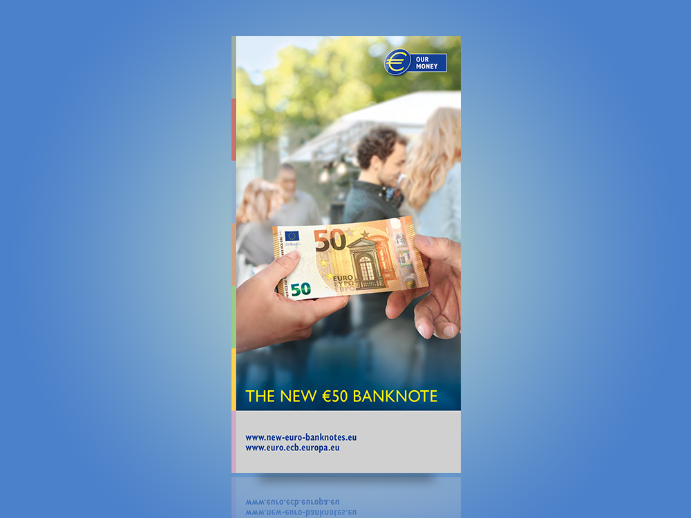 Leaflet on the Europa series €20 banknote design and security features.