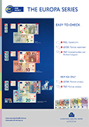 Poster on the security features of the Europa series €5, €10 and €20 banknotes.