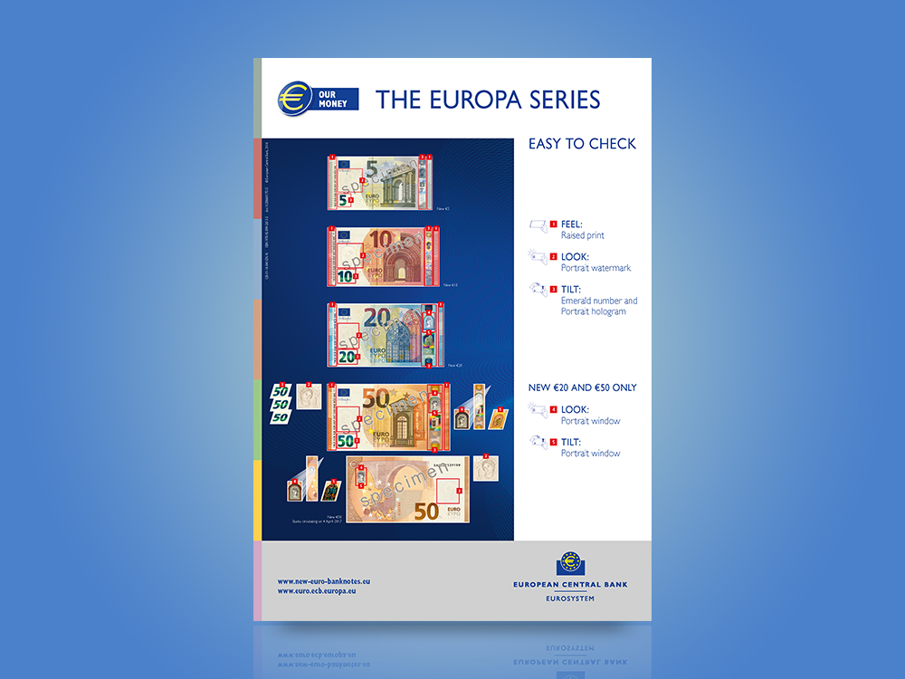 Poster on the security features of the Europa series €5, €10, €20 and €50 banknotes.