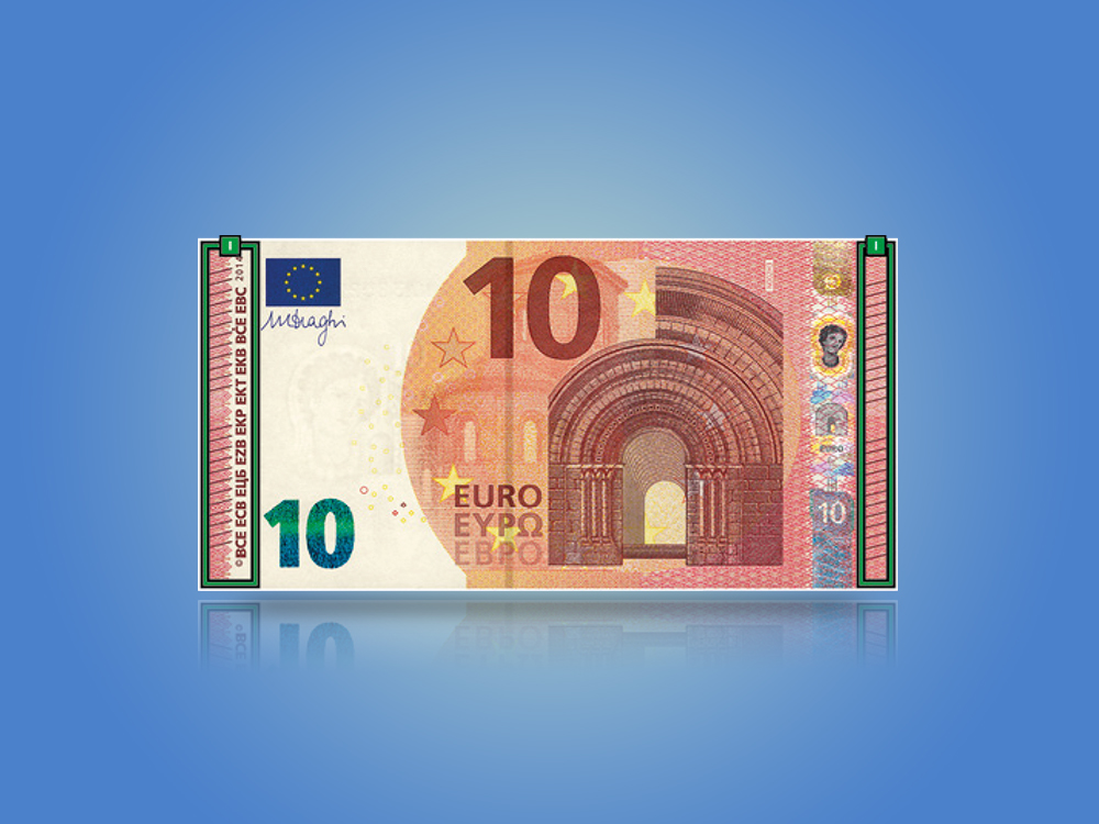 Card that shows the security features of the Europa series €10 banknote when tilted.