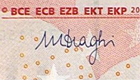 Mario Draghi's signature on a 10 euro banknote